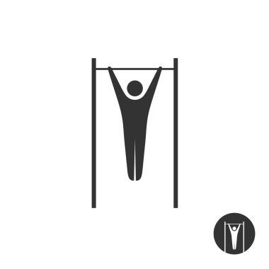 Pull up man silhouette black icon. Horizontal street bar hang pu