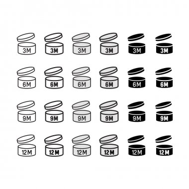 Expiration date after opened icons set. Round box with cap opene