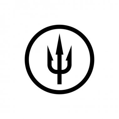 Simple trident sign. Black symbol in a circle border.