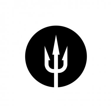 Trident icon. White on a black round background.