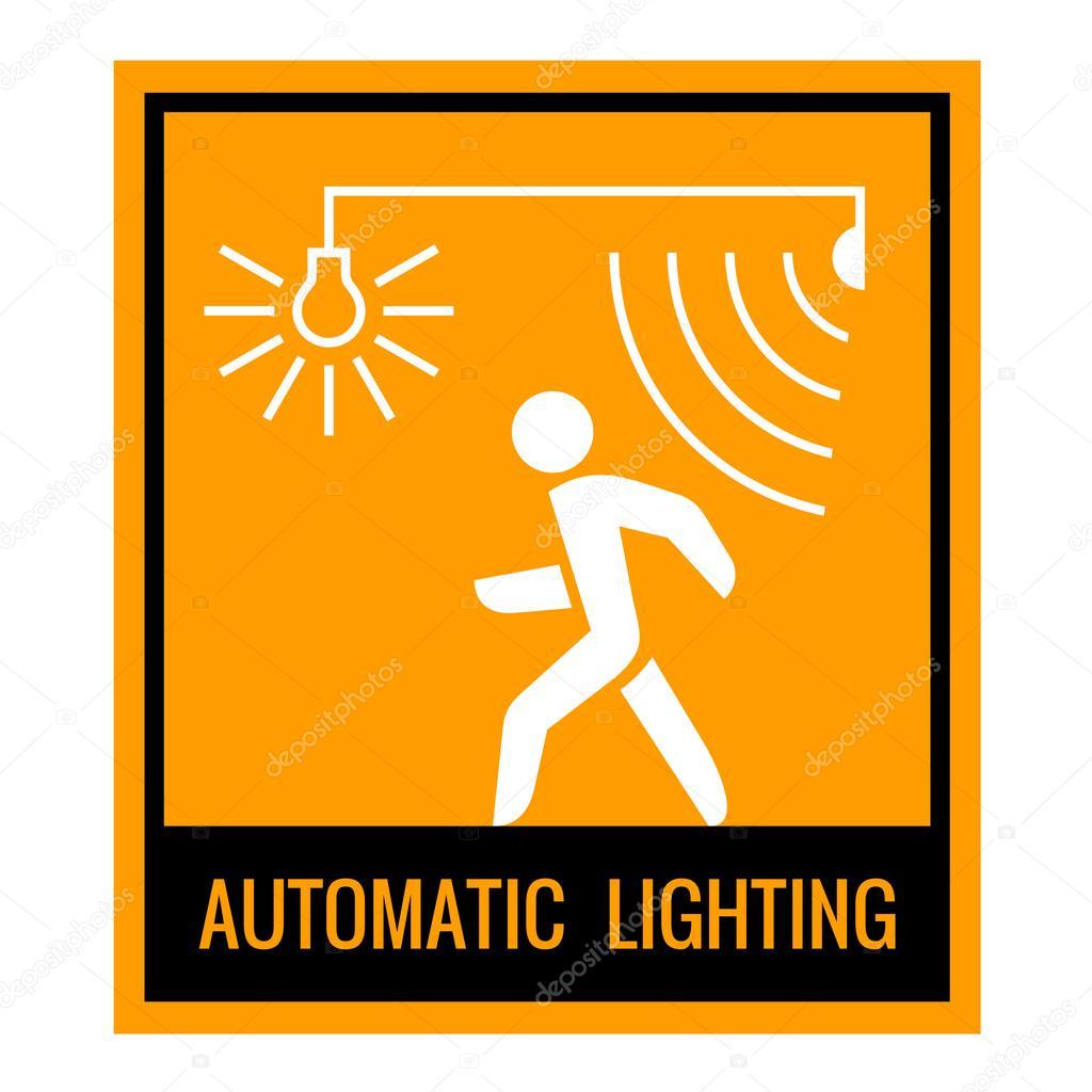 Automatische verlichting concept aandacht teken tabel. Zwart, wit ...