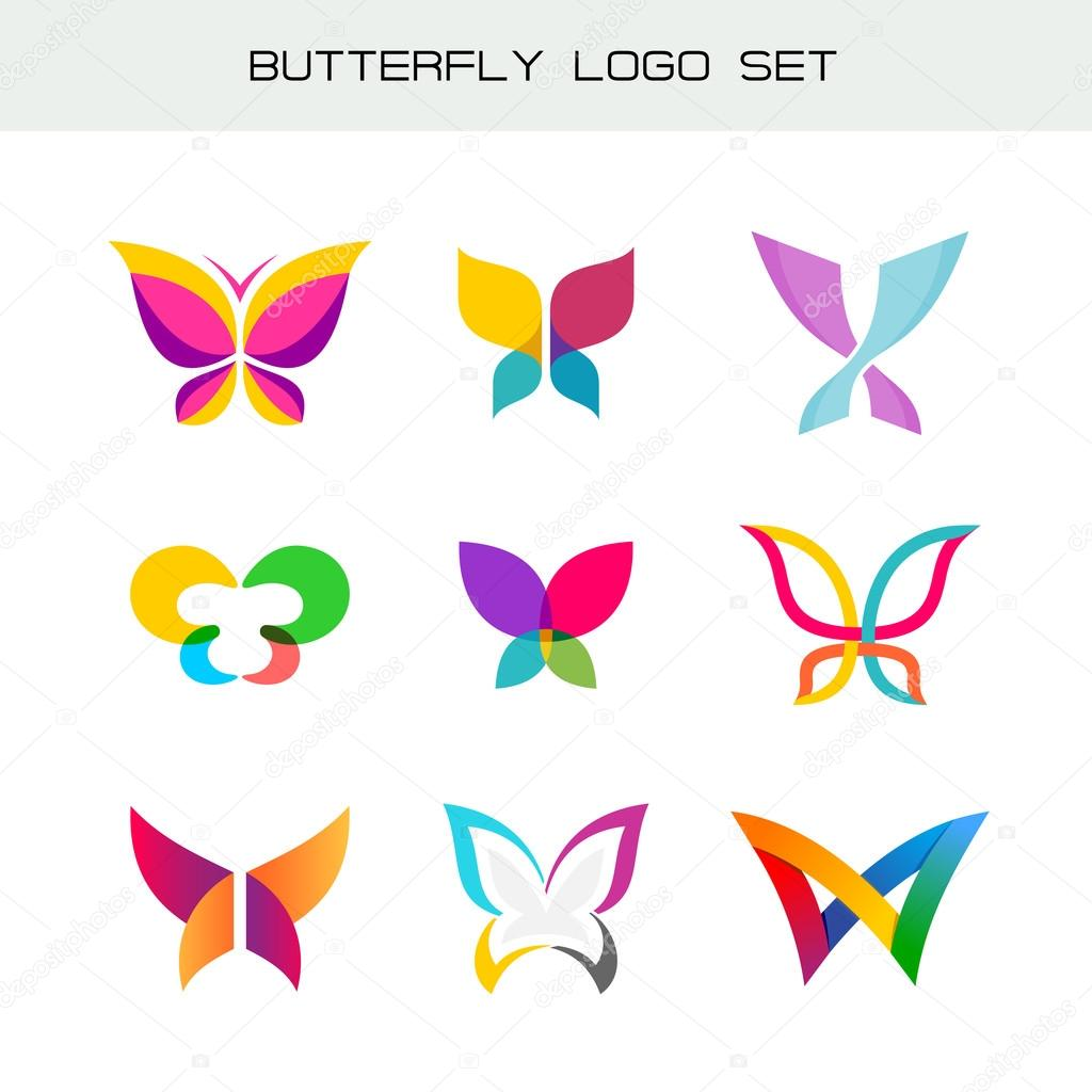 Butterfly colorful logo set vivid colors butterfly symbols in a butterfly colorful logo set vivid colors butterfly symbols in a different styles vector by kilroy biocorpaavc Images