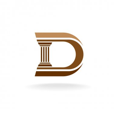 Letter D with column integrated sign.