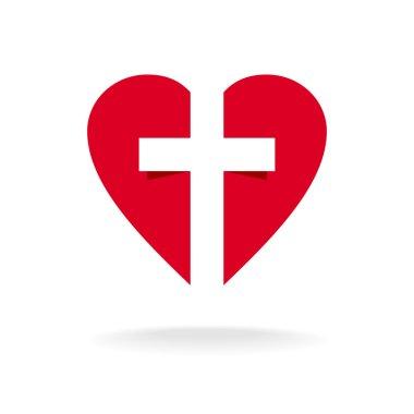 Heart with cross church logo