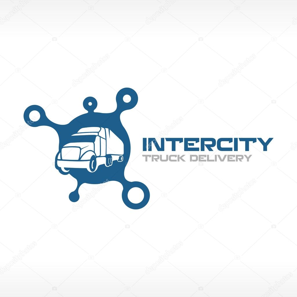 Delivery truck service logo template