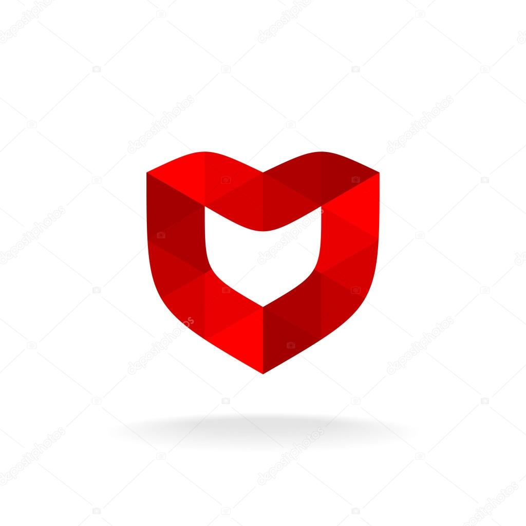 Red shield with heart shape