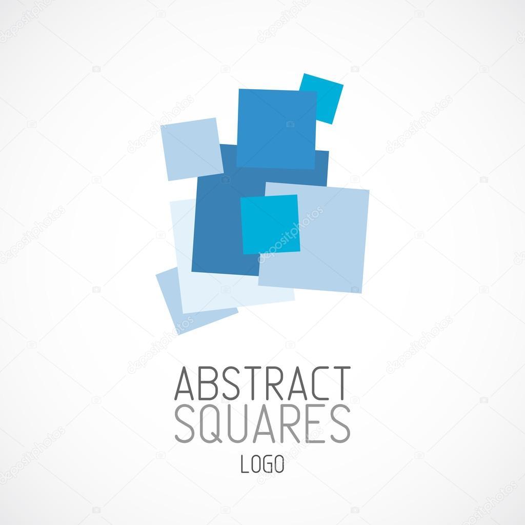 Abstrakte zufällige blaue Quadrate Logo Vorlage — Stockvektor ...