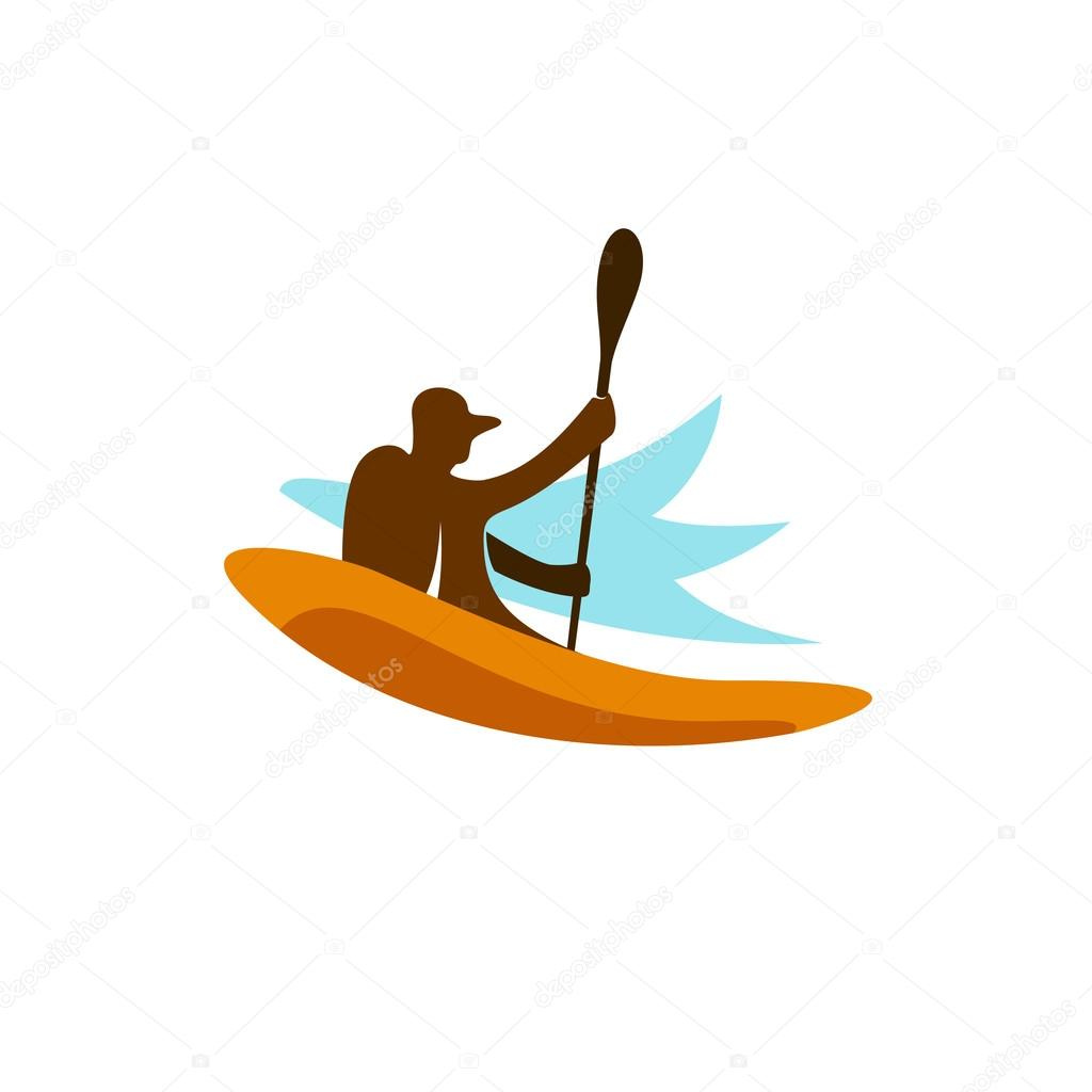 Kayak Fishing Logo Stock Vector