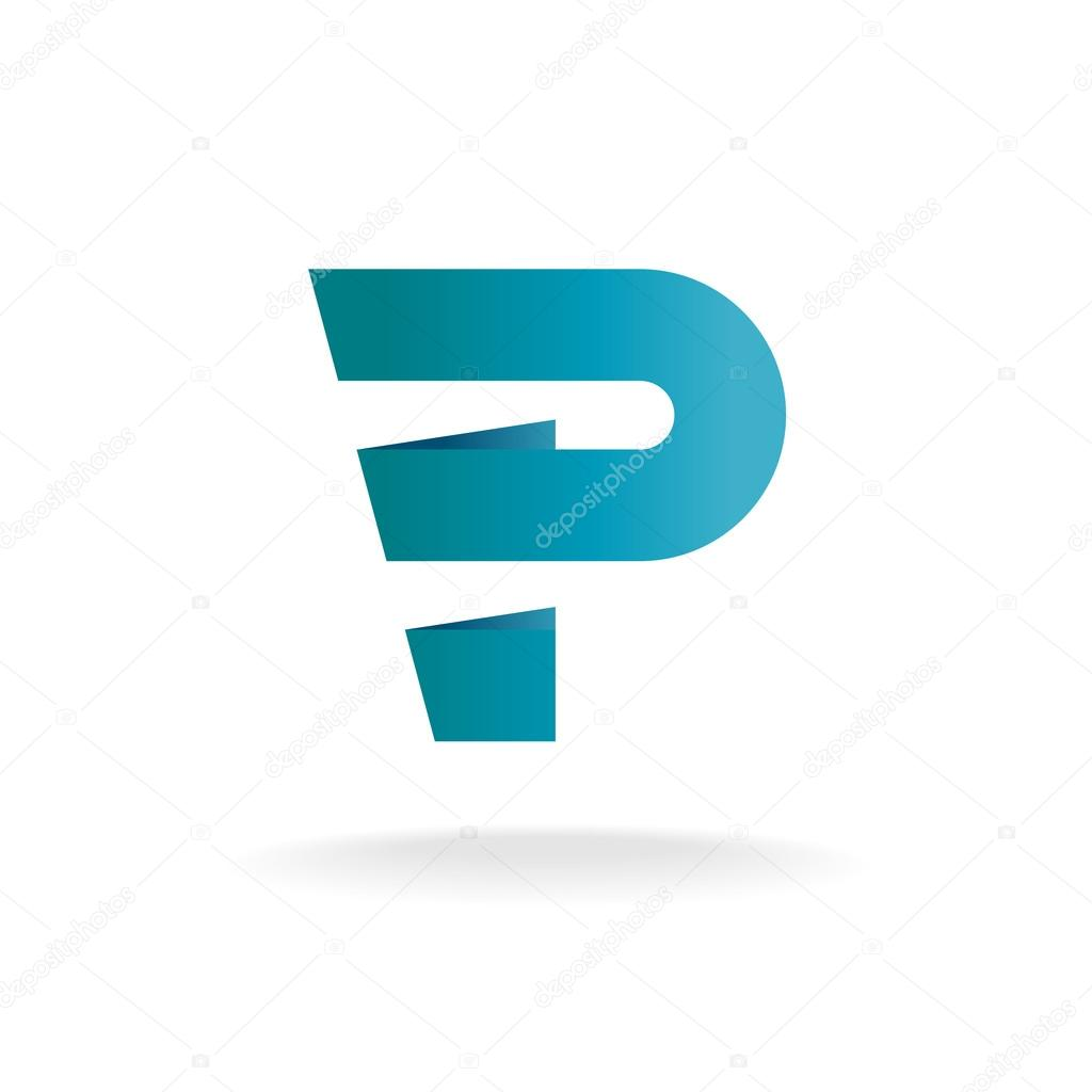blue letter p logo template vector by kilroy
