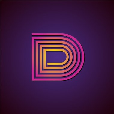 Letter D linear luxury logo. Colorful helix spiral style with shadow. stock vector