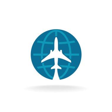 Earth globe with plane logo