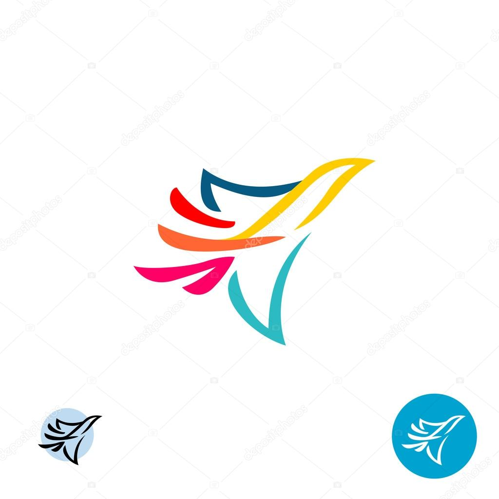 colorful lines style flying bird