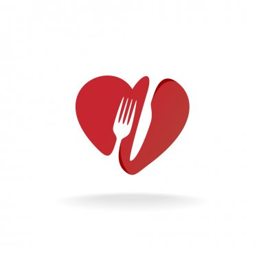 Fork and knife with heart shape