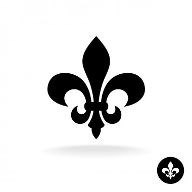 Fleur de lis simple elegant black silhouette logo stock vector