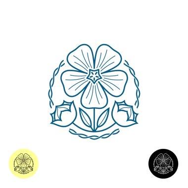 Outline style illustration of a linen flower