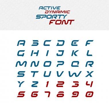 Sport techno font alphabet letters.
