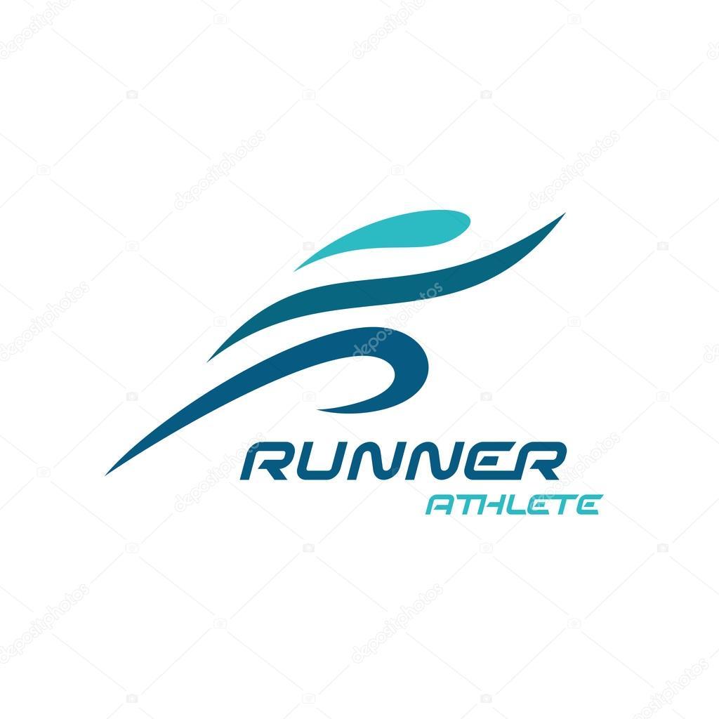 Fast simple stylized athlete figure.