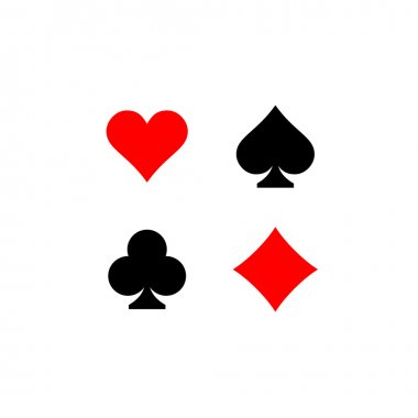 Playing card suits signs set.