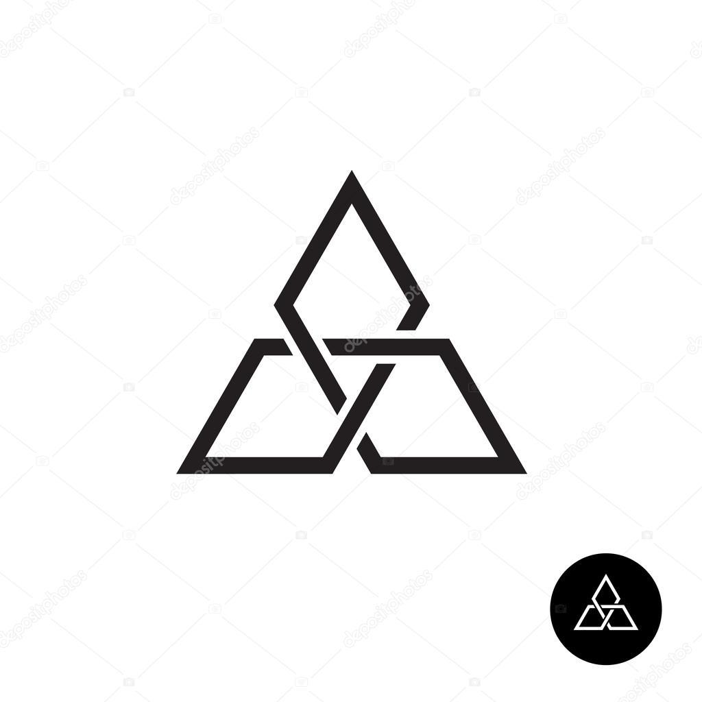 Triangle geometric knot outline logo.