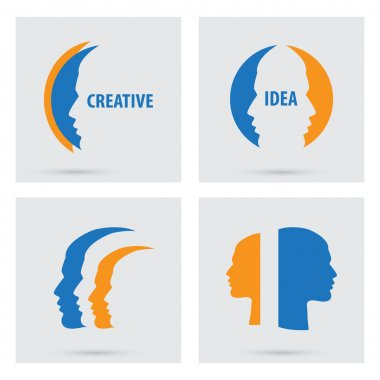Man profile silhouette icons set isolated. Vector colorful portraits of people. Flat graphic style. Concept illustration creative idea,  logo design