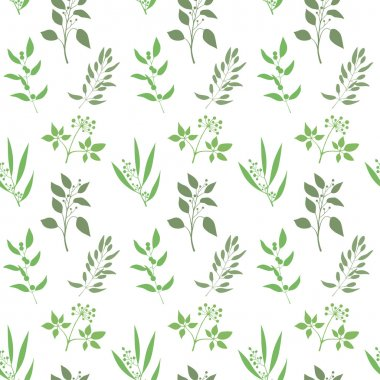 Vector seamless plant background. Endless pattern with green twigs and leaves silhouette.