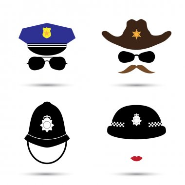 Set of colorful vector icons isolated on white. Policeman icon.  Sheriff icon. Cowboy icon. British police