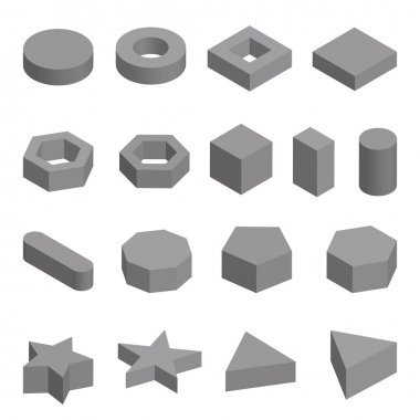 Monochrome set of geometric shapes, platonic solids, vector illustration