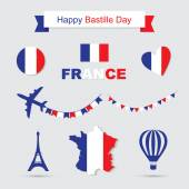 Photo French flag and map icons set. Eiffel Tower icon