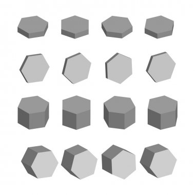 Hexagon. Monochrome set of geometric prism shapes