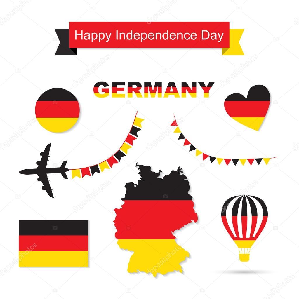 Deutschland-Flagge-Deko-Elemente. Banner, Etiketten, Farbbänder ...