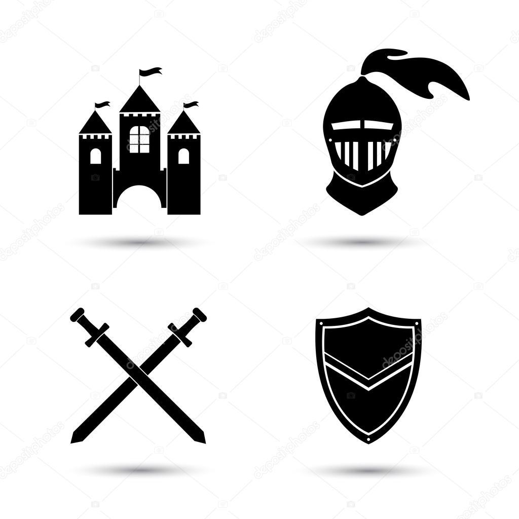 Zestaw Ikon średniowieczny Grafika Wektorowa Sasha2538