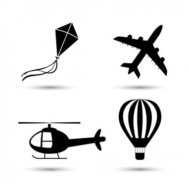 Airplane, helicopter, air balloon  and kite vector icon set