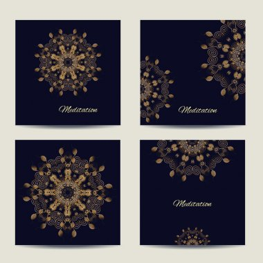 Set of square vector cards or invitations with mandala pattern.