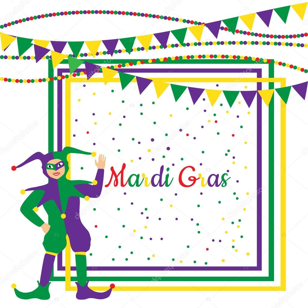 Mardi Gras Party Rahmen mit Harlekin — Stockvektor © sasha2538 #91778362