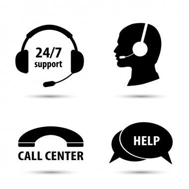 Call center service icons set