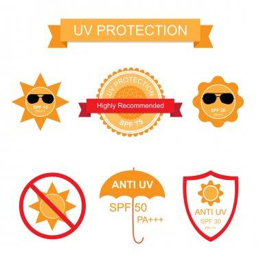 Set of UV Sun Protection and anti UV icons