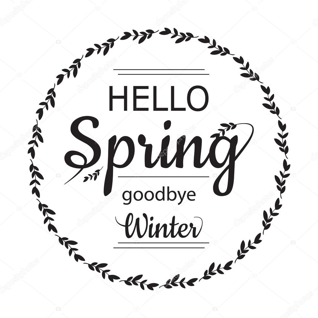 Hello Spring Goodbye Winter Card Design With Elegant Branch Round Frame And  Text, Vector Illustration
