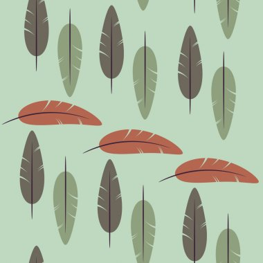 seamless vector pattern of feathers  on a green background. Seamless pattern can be used for pattern fills, web page background,surface textures. floral background