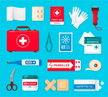 First aid kit flat icons set. Bandage, adhesive plaster, painkiller, antipyretic pills, clinic thermometer, ice gel pack. Vector medical supplies cartoon collection illustration isolated on blue. icon