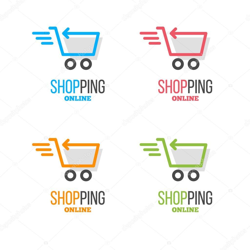 shopping logos set stock vector alejik 100759582. Black Bedroom Furniture Sets. Home Design Ideas