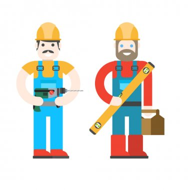 Two workers on white background