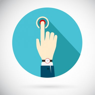 Touch icon. Hand of a businessman in a suit with a clock, clicking on the button that triggers a process. In flat style. Vector illustration stock vector