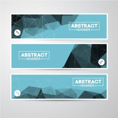 Banners set with geometric background