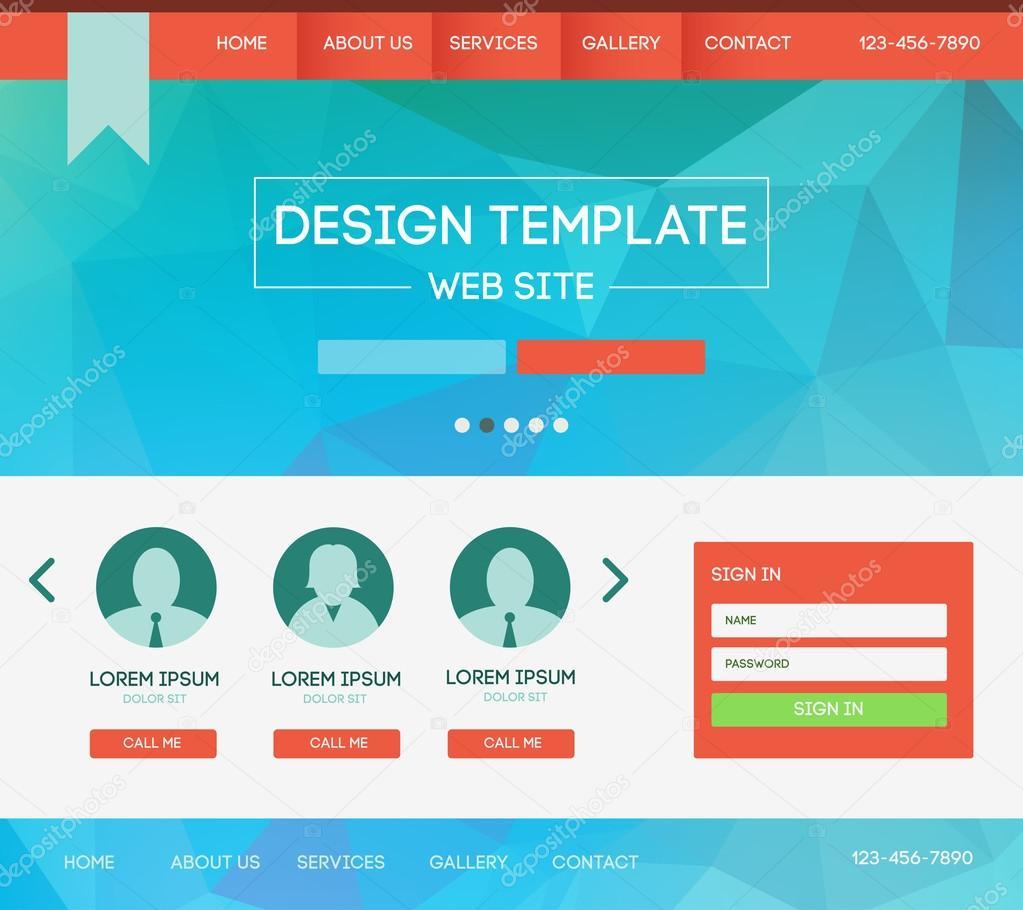 89bd0c008 Plantilla de vector diseño web tema. Diseño de página web con fondo borroso  del aterrizaje — Vector de ...