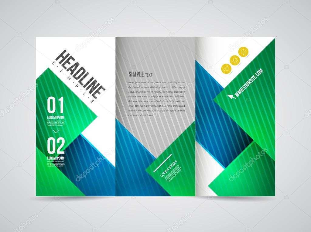 Tres veces el folleto con indicaciones de texto y Resumen — Vector ...