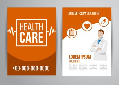 Healthcare brochure for clinic with doctors