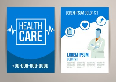 Vector health care brochure for clinic with doctors. Medical flyer design. clip art vector