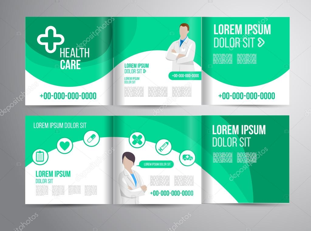 Healthcare Brochure For Clinic With Doctors  Stock Vector  Alejik