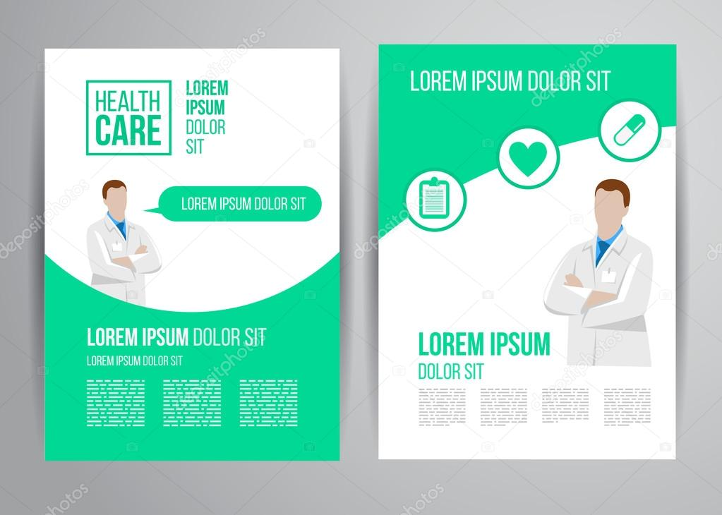 Healthcare Brochure For Clinic With Doctors — Stock Vector