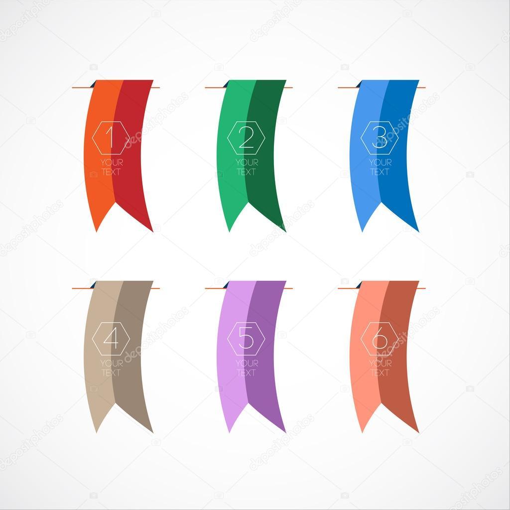 Satz von bunte Lesezeichen oder Flaggen — Stockvektor © alejik ...
